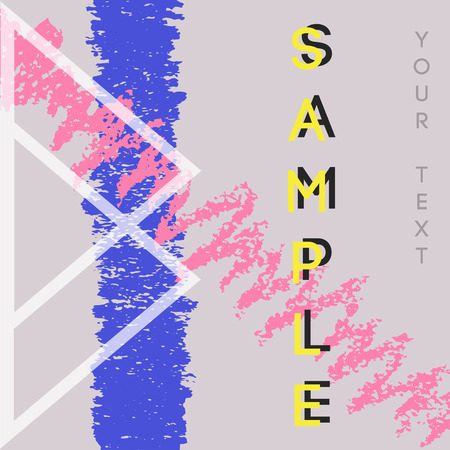 Graphic design backgrounds. Creative universal card with examples of text. Abstract modern template with geometric shape and hand drawn textures for banners, poster, card, invitation, placard, brochure, flyer. Vector isolated Illustration