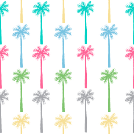 coloful: Palm tree seamless pattern. Vector botanical background with isolated coloful silhouettes.