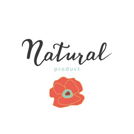 A mano adesivo disegnato citando eco. manifesto organico. Moderna calligrafia - prodotto naturale. scritta a mano con fiori di papavero. Illustrazione vettoriale. Utilizzare per la progettazione di ecologia della natura.