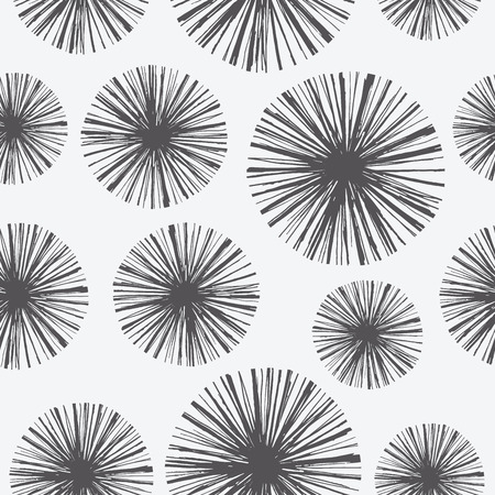 neon plant: Bright floral seamless pattern with hand drawn dandelions. Vector Retro summer illustration in engraving style for cards, background, wrapping and design. Illustration