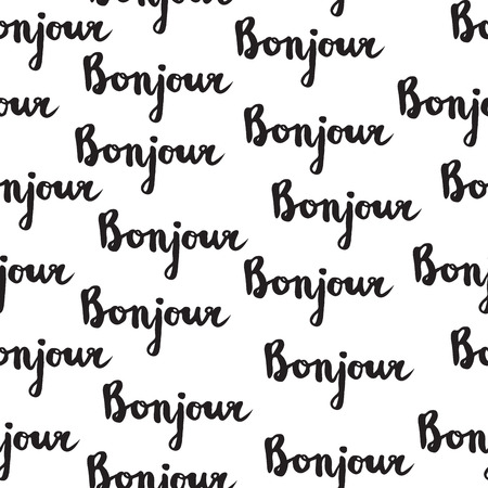 bonjour: Seamless pattern with french quote Bonjour. Handwritten inspirational lettering for poster, cards, background, wrapping and design. Illustration