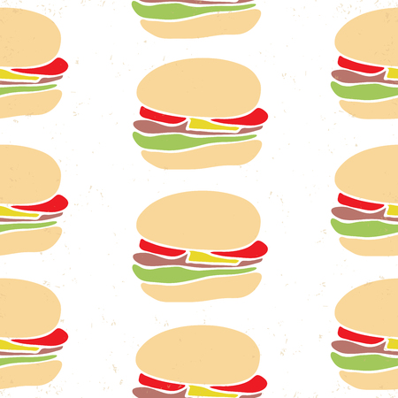 foodstuffs: Seamless pattern of fast food cartoon burger with beef and tomatoes, lettuce and cheese. Vector background for cafe interior or menu design.