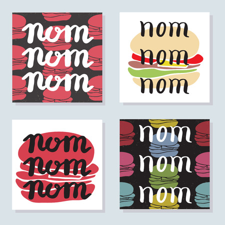 foodstuffs: Set of 4 bright cards with food typographic quotes and burgers in engraving style. Vector fast food banner and background for cafe interior or menu design. Handwritten inspirational lettering. Illustration