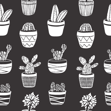 Hand drawn set of Cactus in the pots. Different types. Vector illustration in engraving style for decoration, cards, background, wrapping and design.