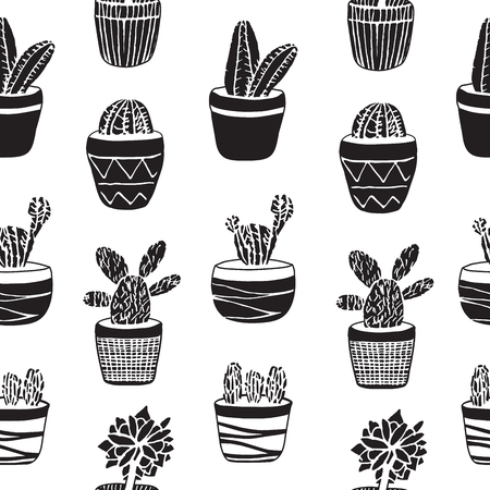 indoor bud: Hand drawn set of Cactus in the pots. Different types. Vector illustration in engraving style for decoration, cards, background, wrapping and design.