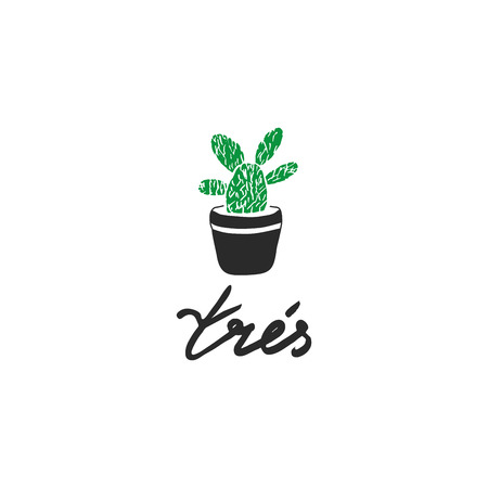 indoor bud: Hand drawn label with french quote - Tres or english - Very. Conceptual design - very prickly and capricious but home. Vector illustration with cactus in the pot. Use for men s concepts or other ideas Illustration