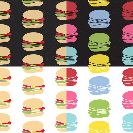 foodstuffs: Seamless pattern set of fast food burgers in engraving style. Vintage background for cafe interior or menu design. Illustration