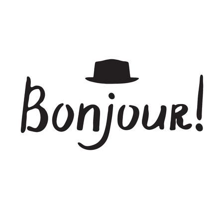 bonjour: French phrase - Bonjour. Modern brush calligraphy. Handwritten inspirational lettering for poster and card.