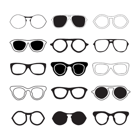 Sunglasses collection silhouettes. Fashion summer eyeglasses isolated on white backogrund.