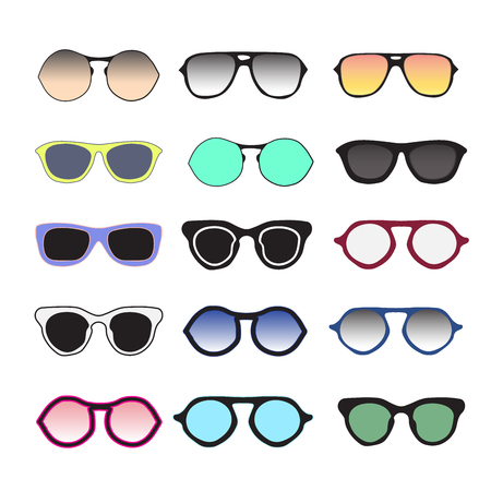 Sunglasses collection colorful. Fashion summer eyeglasses isolated