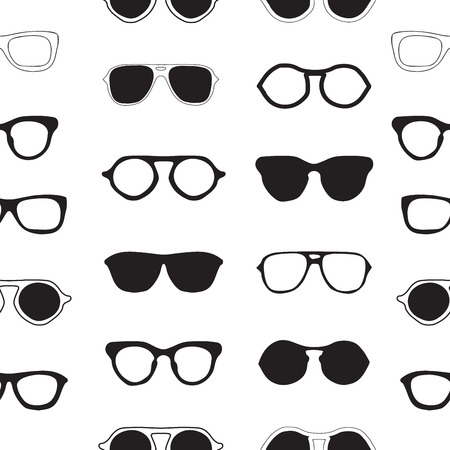 Seamless pattern with sunglasses fashion, summer background for design of packing, poster, cards, covers, fabric and wrapping paper.