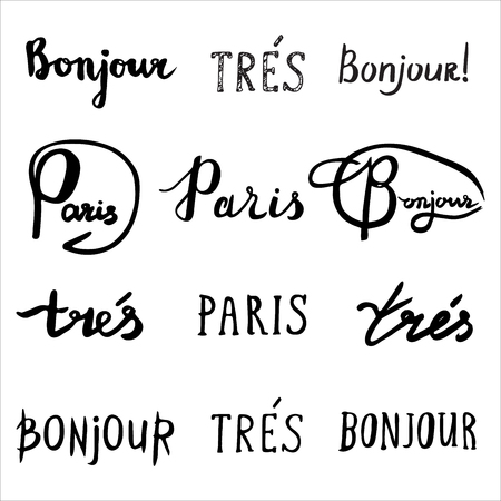 bonjour: Hand drawn french phrases collection. Bonjour - Hello, Tres - Very and Paris. Handwritten inspirational. Modern brush calligraphy. Greeting cards with lettering quote. Isolated on white background.