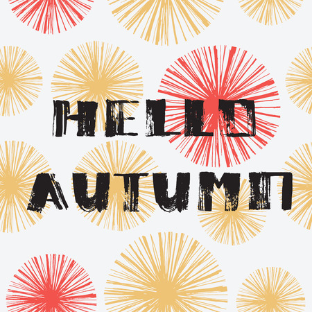 calendario octubre: Hola otoño. Dibujado a mano las letras del grunge moderna. diseño tipográfico. Vectores