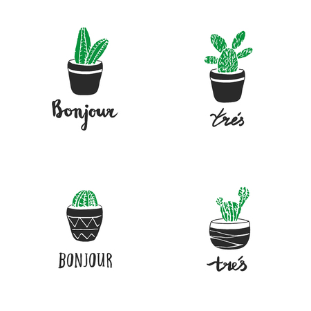 bonjour: Set of hand drawn cacti with french quotes Tr s Very , Bonjour . Vector label in engraving style for men design or other ideas decoration, cards, background, wrapping and design.