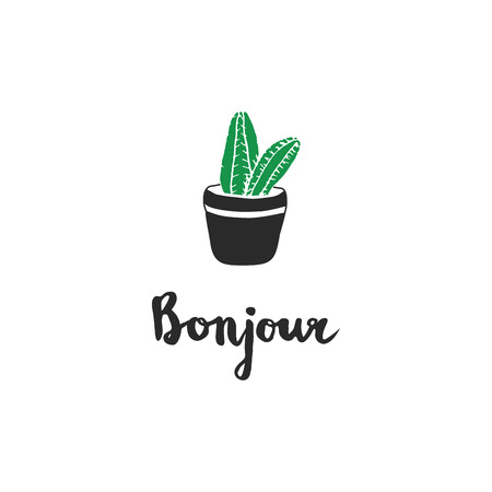 bonjour: hand drawn cacti with french quotes Bonjour . Vector label in engraving style for men design or other ideas decoration, cards, background, wrapping and design. Illustration