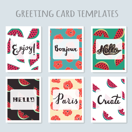 readymade: Set of 6 ready-made invitations gift cards templates with watermelon and poppy flowers and hand drawn inspirational quotes. Vector isolated. Birthday, holiday, greeting and invitation card. Illustration