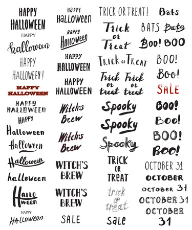 october 31: Set of Modern Brush Calligraphy - Halloween, Trick or Treat, Boo, Bats, Spooky, October 31, Witches Brew, and hand drawn lettering typographic. Vector isolated. Use halloween cards, covers, tags, icons and more