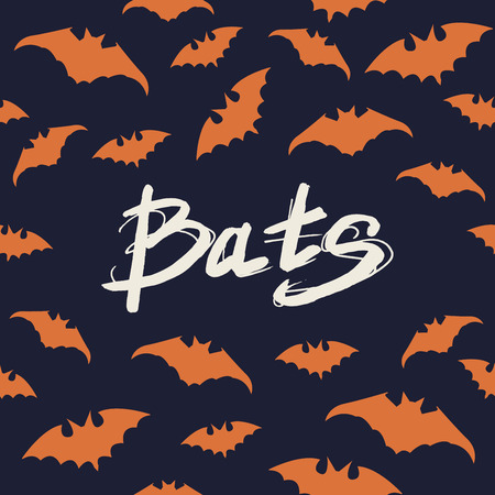 a nocturne: Halloween poster with Seamless pattern bats and modern hand drawn calligraphy - Bats. Vector illustration. Illustration