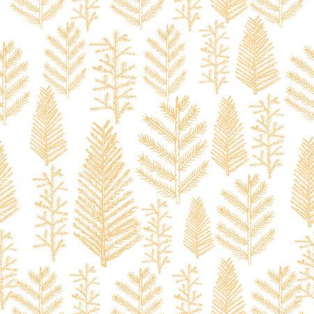winter tree: Seamless pattern with christmas tree and pine fir branches, hand drawn illustration, winter holiday background