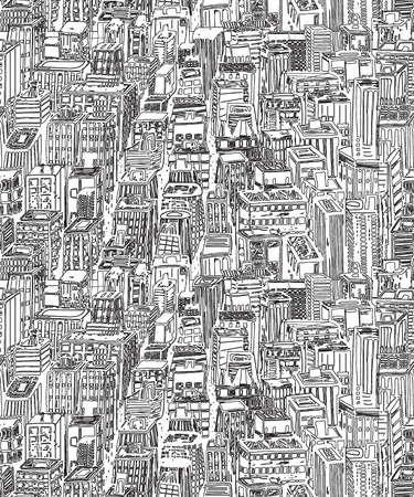 Hand drawn seamless vector pattern with big city New York street architecture, skyscrapers, megapolis, buildings, business center Banco de Imagens - 66715637