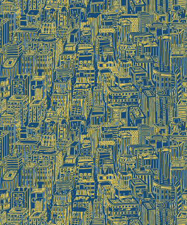 Hand drawn seamless vector pattern with big city New York street architecture, skyscrapers, megapolis, buildings, business center