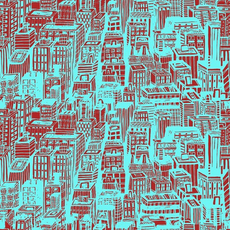Hand drawn seamless vector pattern with big city New York street architecture, skyscrapers, megapolis, buildings, business center Illustration