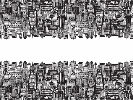 megapolis: Horizontal reflection banner of big city with skyscrapers. Hand drawn Vintage illustration with New York city NYC, cityscape with panoramic view of architecture, skyscrapers, megapolis, buildings, downtown. Illustration