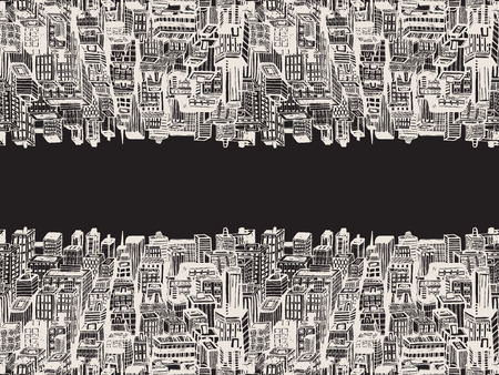 panorama city: Horizontal reflection banner of big city with skyscrapers. Hand drawn Vintage illustration with New York city NYC, cityscape with panoramic view of architecture, skyscrapers, megapolis, buildings, downtown. Illustration