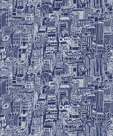 Hand drawn seamless pattern with skyscrapers. Hand drawn Vintage illustration with New York city NYC, cityscape with panoramic view of architecture, skyscrapers, megapolis, buildings, downtown.  イラスト・ベクター素材