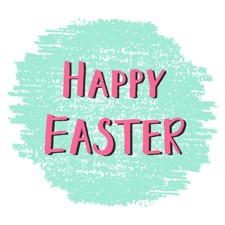 Happy Easter greeting card with hand drawn lettering, design vector illustration, holiday symbol.