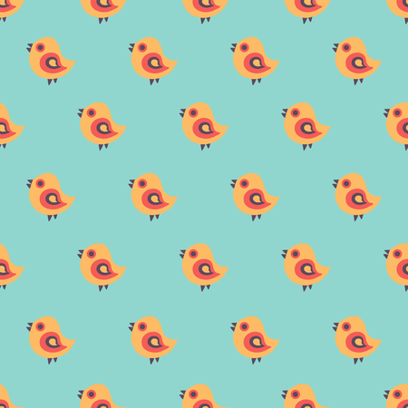 Seamless pattern with cartoon birds. Spring and Easter greeting cards. Hand drawn vector background