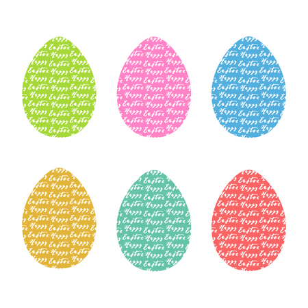 Hand drawn eggs with hand drawn lettering, design vector illustration, holiday symbol for Easter desing.
