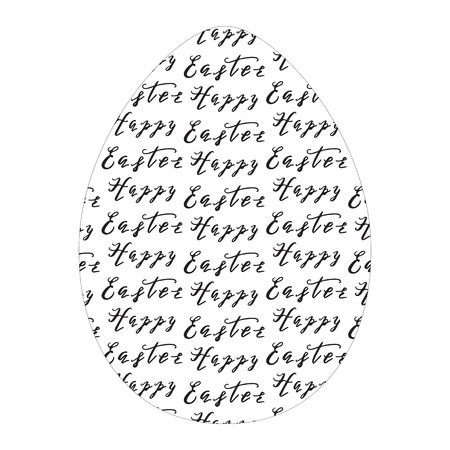 happy: Happy Easter greeting card with egg and hand drawn lettering, design vector illustration, holiday symbol. Illustration
