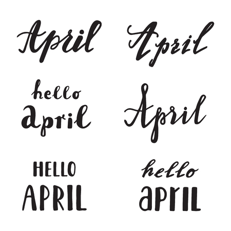 funny baby: April calligraphy lettering. Spring quotes handwritten. Vector elements for greeting card, invitation, calendar, scrapbooking, badge etc