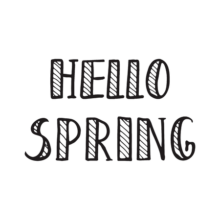 funny baby: Spring calligraphy lettering. Spring quote handwritten Hello Spring. Vector elements for greeting card, invitation, calendar, scrapbooking, badge etc