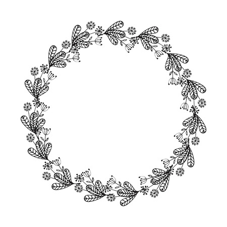 Hand drawn wreath. Floral design elements for invitations, greeting cards, scrapbooking, quotes, blogs posters