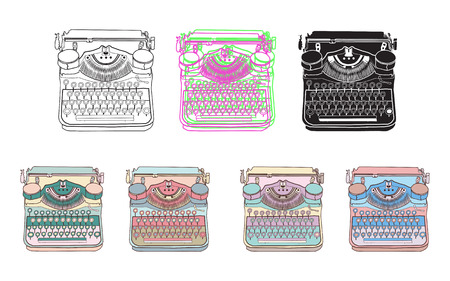 scriptwriter: Set of 7 vintage typewriters. Vector illustrations of retro typewriter, inspire writers, screenwriters, copywriters and other creative people.