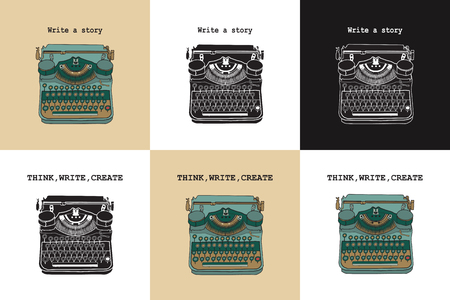 Set of 6 vintage cards with typewriters. Vector illustrations of retro typewriter, inspire writers, screenwriters, copywriters and other creative people.