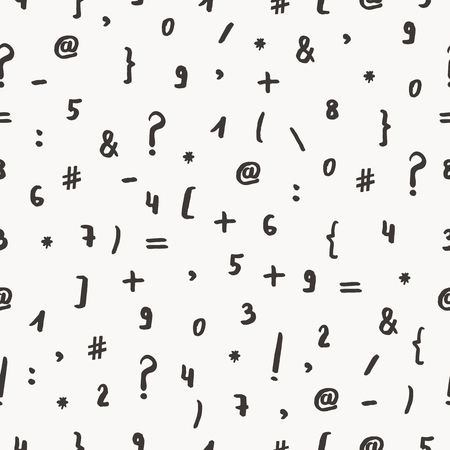 numeric: Seamless pattern with hand drawn symbols and numbers. Hand drawn vector illustration.