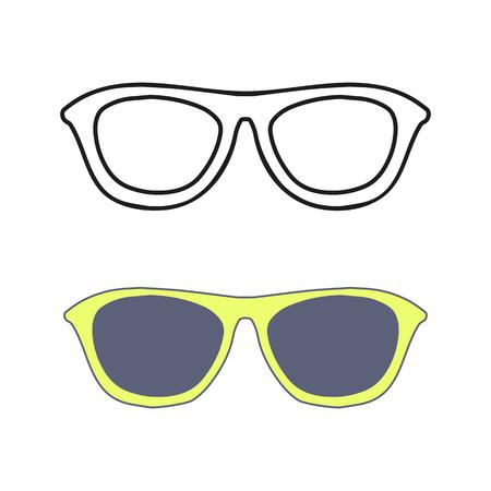 eyewear fashion: Hand drawn glasses outline set. Fashion summer Sunglasses. Vector isolated on white backogrund. Illustration