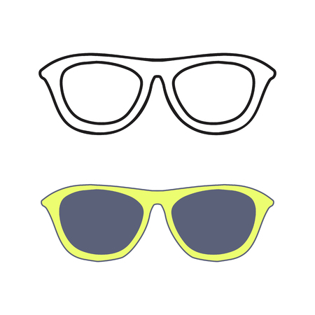 Hand drawn glasses outline set. Fashion summer Sunglasses. Vector isolated on white backogrund. Illustration