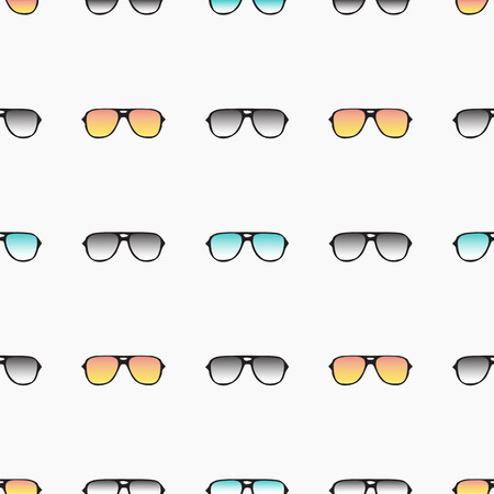 Seamless pattern with hand drawn glasses, fashion sunglasses. Vector background for design of packing, poster, cards, covers, fabric and wrapping paper.