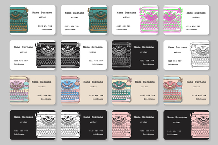 scriptwriter: Set of business cards with hand drawn vintage typewriter, for writers, screenwriters, editors and other creative people. Vector templates