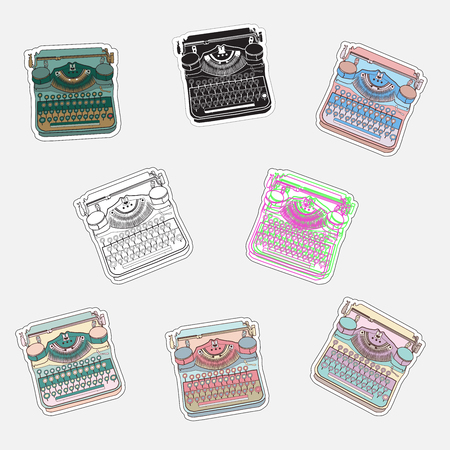 Set of vintage sticker badges with typewriters. Vector illustrations for patches, transfer, tatoo, atc Ilustração