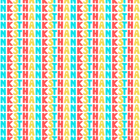 Colorful textual seamless pattern with word Thanks. Vintage vector illustration on black background with text Thank You
