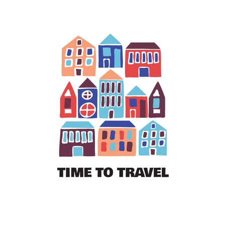Time to Travel card. Modern flat hand drawn illustration. Travel to World. Road trip, tourism, vacation. Estate banner. cartoon vector isolated design Иллюстрация