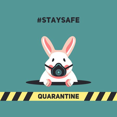 Cute rabbit peeps out of a hole during quarantine of Coronavirus Ilustrace