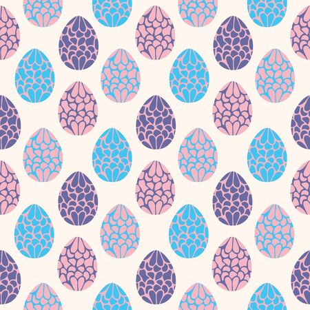 Seamless pattern with hand drawn easter eggs Illustration