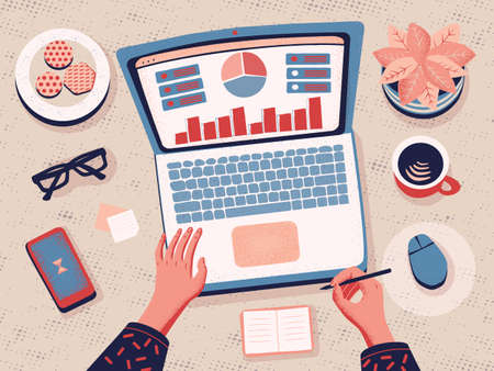 Top view Freelancer working from home. Working at home. Data Analysis. Cartoon Flat Vector illustration. Remote work and self employed. Female hands typing on the laptop. 矢量图像