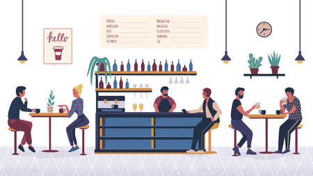 People in the bar cafe, cartoon couple, man and woman relaxing and sitting at tables on date with drink and coffee. Cartoon flat characters. Barista barman making drink at bar counter interior.